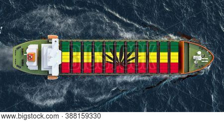 Freighter Ship With Smuggle Drugs In Cargo Containers Sailing In Ocean, 3d Rendering
