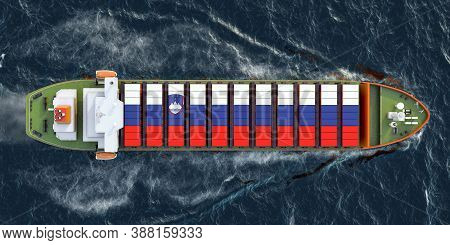 Freighter Ship With Slovenian Cargo Containers Sailing In Ocean, 3d Rendering