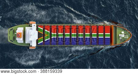 Freighter Ship With South African Cargo Containers Sailing In Ocean, 3d Rendering