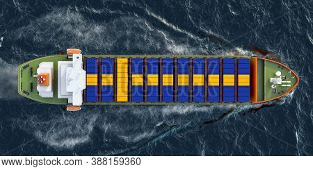 Freighter Ship With Swedish Cargo Containers Sailing In Ocean, 3d Rendering
