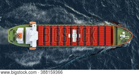 Freighter Ship With Swiss Cargo Containers Sailing In Ocean, 3d Rendering