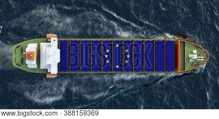 Freighter Ship With The European Union Cargo Containers Sailing In Ocean, 3d Rendering