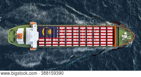 Freighter Ship With Malaysian Cargo Containers Sailing In Ocean, 3d Rendering