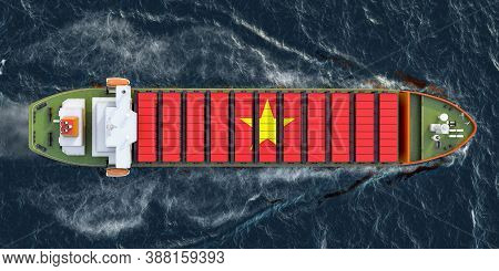 Freighter Ship With Vietnamese Cargo Containers Sailing In Ocean, 3d Rendering