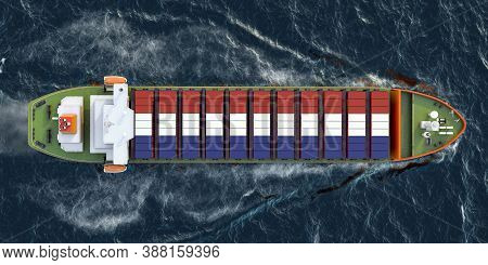 Freighter Ship With The Netherlands Cargo Containers Sailing In Ocean, 3d Rendering