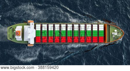 Freighter Ship With Bulgarian Cargo Containers Sailing In Ocean, 3d Rendering