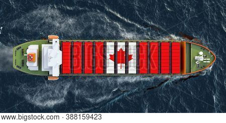 Freighter Ship With Canadian Cargo Containers Sailing In Ocean, 3d Rendering