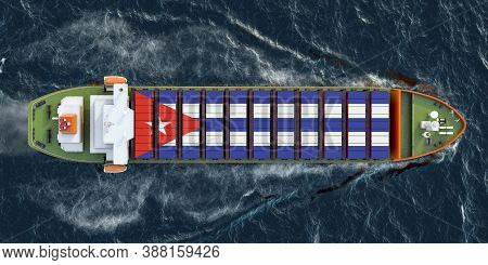 Freighter Ship With Cuban Cargo Containers Sailing In Ocean, 3d Rendering