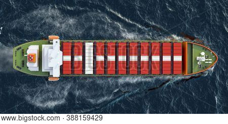 Freighter Ship With Danish Cargo Containers Sailing In Ocean, 3d Rendering