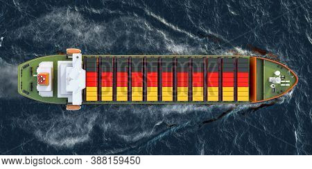 Freighter Ship With German Cargo Containers Sailing In Ocean, 3d Rendering