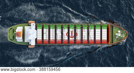 Freighter Ship With Iranian Cargo Containers Sailing In Ocean, 3d Rendering