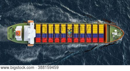 Freighter Ship With Ecuadorian Cargo Containers Sailing In Ocean, 3d Rendering