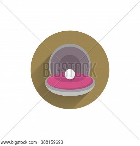 Pearl In A Shell Colorful Flat Icon With Shadow. Sea Shell Flat Icon