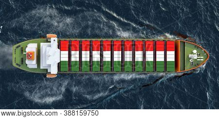 Freighter Ship With Hungarian Cargo Containers Sailing In Ocean, 3d Rendering