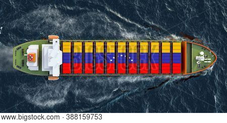 Freighter Ship With Venezuelan Cargo Containers Sailing In Ocean, 3d Rendering