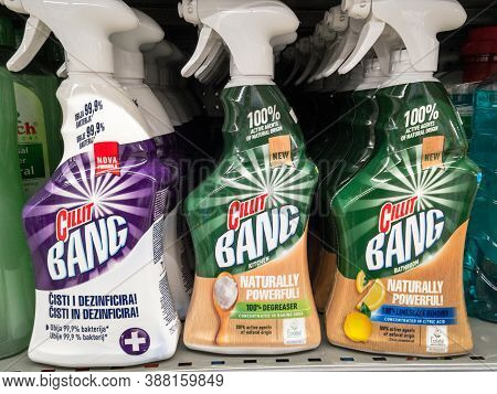 Belgrade, Serbia - September 10, 2020: Cilit Bang Logo On Spray Bottles For Sale. Cilit Bang Is A Br