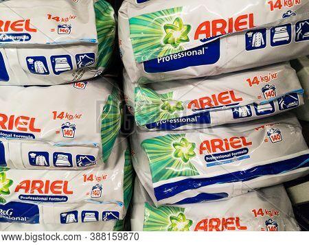 Belgrade, Serbia - September 20, 2020: Logo Of Ariel Laundry Detergent On Powder Bags For Sale. Part
