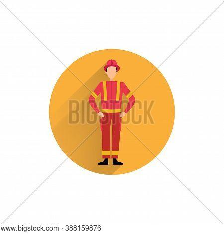 Fireman Colorful Flat Icon With Long Shadow. Fireman Flat Icon