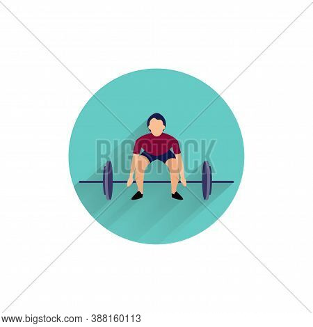 Weightlifting Colorful Flat Icon With Long Shadow. Weightlifting Flat Icon