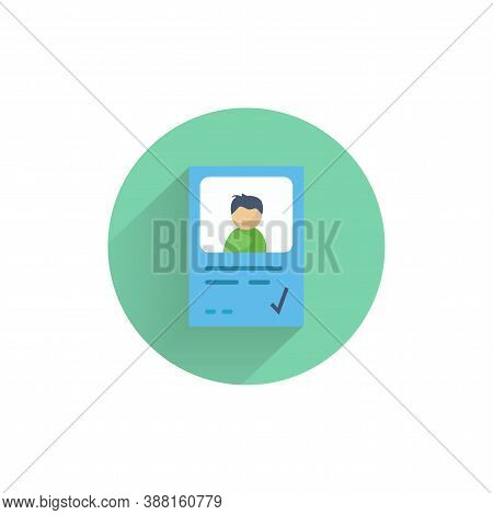 Identity Card Colorful Flat Icon With Long Shadow. Identity Flat Icon