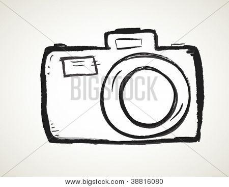 Scribble Hand drawn camera icon vector