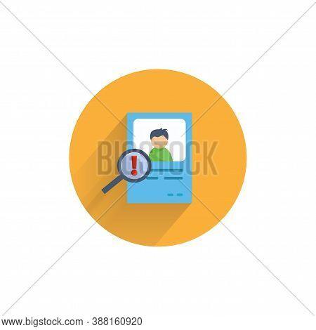 Risk Identify Icon. Identity Card Colorful Flat Icon With Long Shadow. Risk Identify Flat Icon