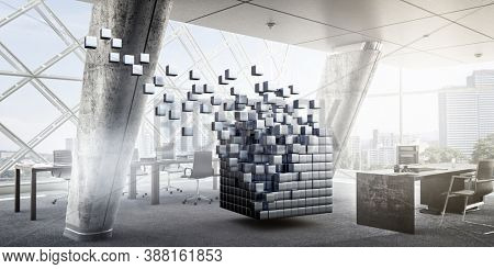 Floating cubes. Innovation and creativity concept