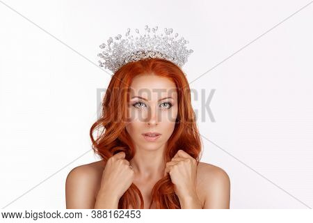 Portrait Beautiful Young Redhead Woman Wearing Crystal Crown Isolated On White Background Looking At