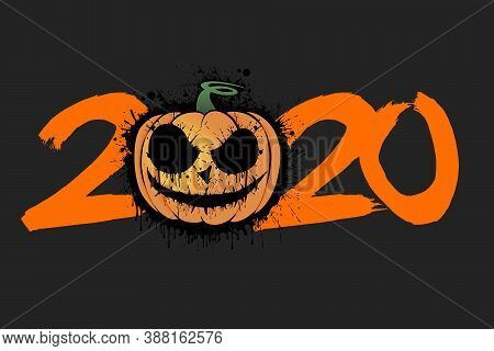 Abstract Number 2020 In Grunge Style And Halloween Pumpkin From Blots. Happy Halloween. Design Patte