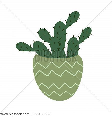 Mexican Cactus In A Pot. Prickly Cartoon Cactus Isolated On A White Background. Decorative Indoor Pl