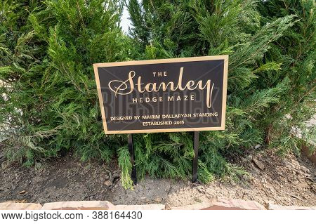 Estes Park, Colorado - September 18, 2020: Sign For The Stanley Hedge Maze, Created In 2015 At The S