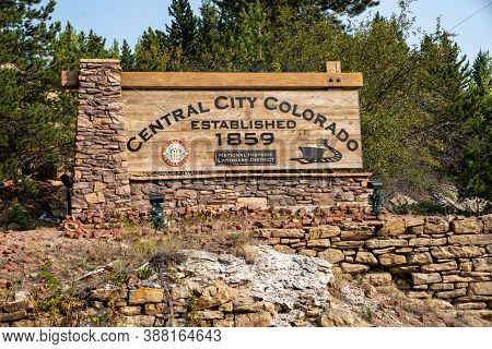 Central City, Colorado - September 18, 2020: Welcome Sign To Central City, Co, A National Historic L