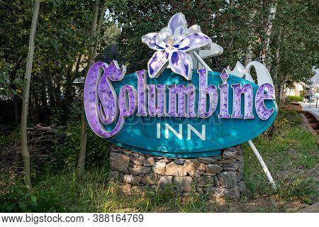 Idaho Falls, Colorado - September 18, 2020: Retro Neon Sign For The Columbine Inn, A Motel In The Do