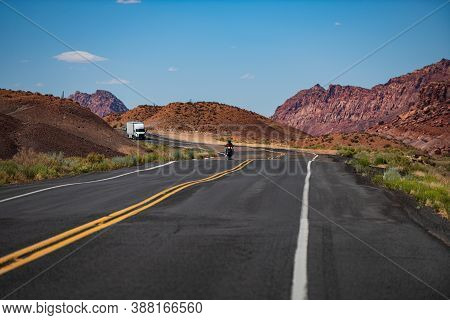 Asphalt Road. American Roadtrip. Scenery With Highway