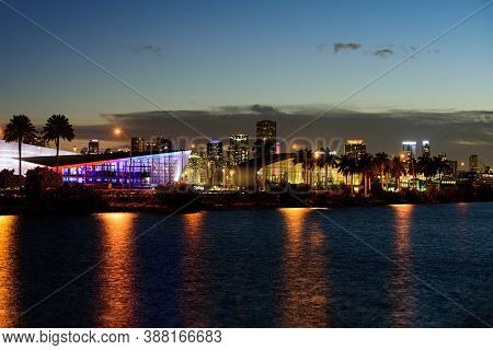 Miami, Florida, Usa Skyline On Port Miami Florida, City Night Backgrounds. City Of Miami, Night Pano