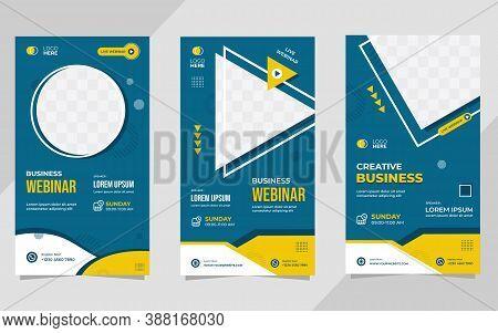 Set Of Minimalist Social Media Stories Post Template For Business Webinar, Creative Webinar, Online