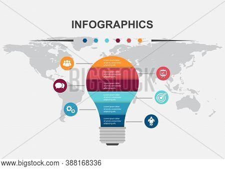 Light Bulb Infographic Design Template , Stock Vector