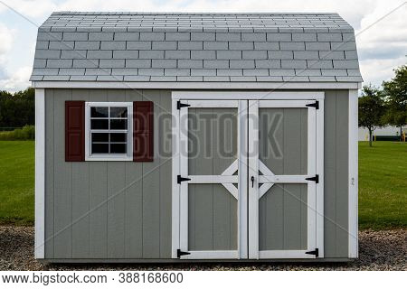 Gray New Shed A Shed Is Typically A Simple, Single-story Roofed Structure In Backyard