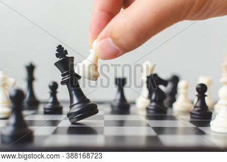 Plan Leading Strategy Of Successful Business Competition Leader Concept, Hand Of Player Chess Board