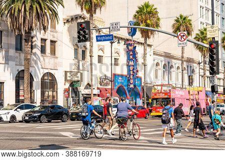Hollywood, California - October 09 2019: Busy Highland Avenue Intersection, Hollywood Boulevard, Cal