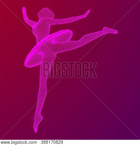 Dancing Ballerina. Woman Classic Ballet Dancer. Wireframe Low Poly Mesh Vector Illustration.