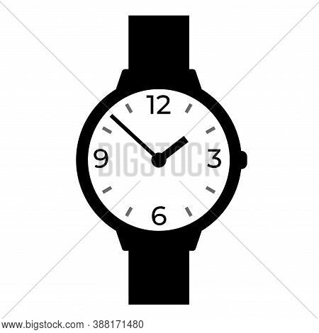 Wrist Watch. Vector Illustration. Round Classic Design. Time In Hours And Minutes.