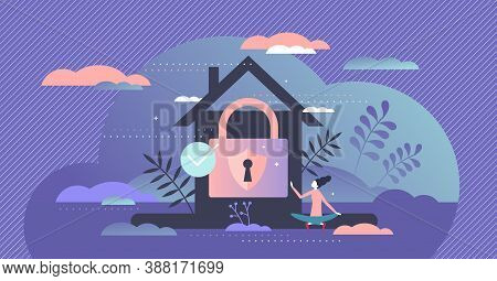 Home Security Care With Lock, Shield And Alarm For Peace And Harmony Feeling Tiny Person Concept. Ho