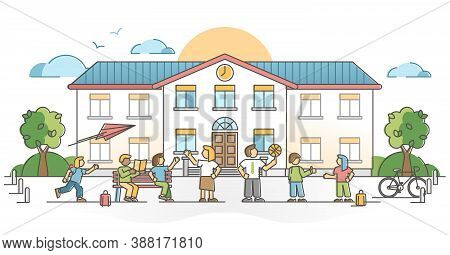 School Building Exterior With Pupil Or Kids With Teachers Outline Concept. Study And Academic Educat