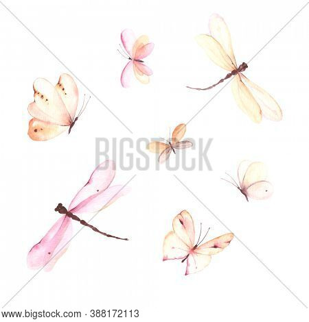 Watercolor set of flying dragonflies and butterflies. Cute isolated illustration for your design, abstract insects.