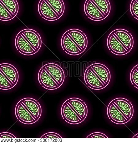 Seamless Pattern With Neon Stop Coronavirus Icons On Black Background. Carantine, Vaccine, Isolation