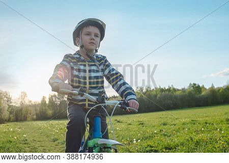 Child on bike in park. Boy going wearing safe bicycle helmets. Little Kid biking on sunny summer day. Active healthy outdoor sport Fun activity.