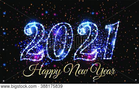 New Year 2021 Eve Glowing Text Vector Design On Black Background - Happy New Year 2021 Blue Light Il