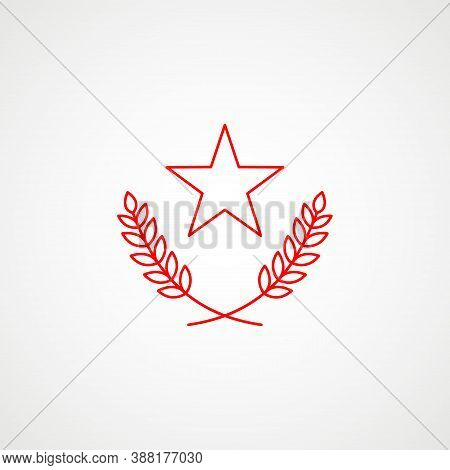 Linear Icon Of Communism. Star With Wreath. Red Soviet Emblem. Minimalist Coat Of Arms Of The Ussr.