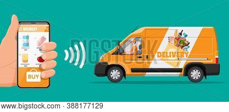 Delivery Van Full Of Food And Smartphone. Concept Of Fast Grocery Delivery Service. Supermarket, Caf